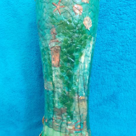abstraction vase decoupage green interior