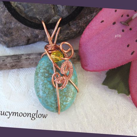 lucymoonglow wireweave wirewoven woven gemstone pendant handmade wirewrap wrapped blue turquoise green copper gift necklace jewelry wire handcrafted