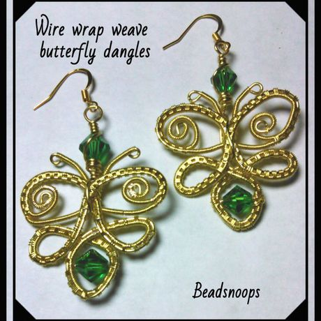 earrings handmade jewelry beadsnoops greencrystals wirewrapweave