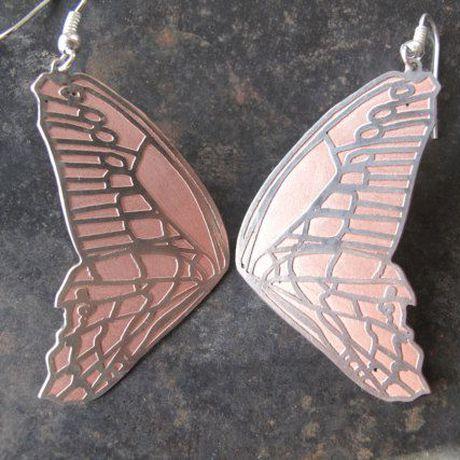 copper earrings gift silverplated butterfly