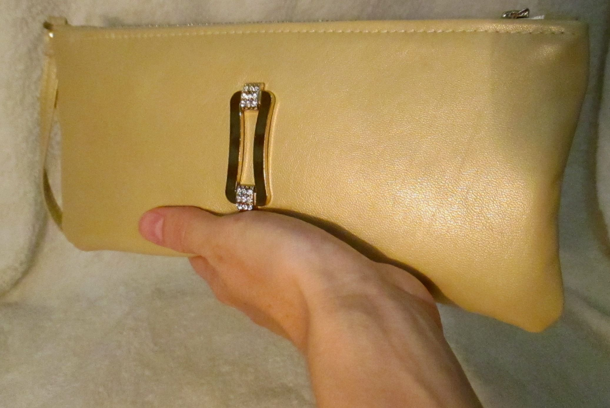 leather accessories bag yellow golden clutch