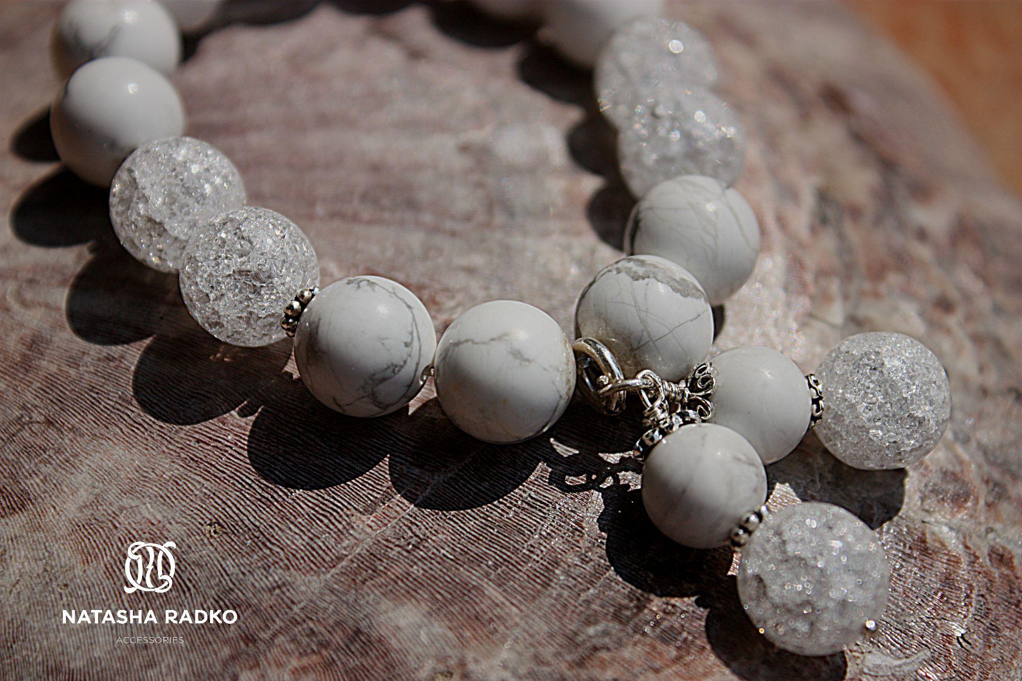wristlet present silver cacholong ice-quartz jewelry