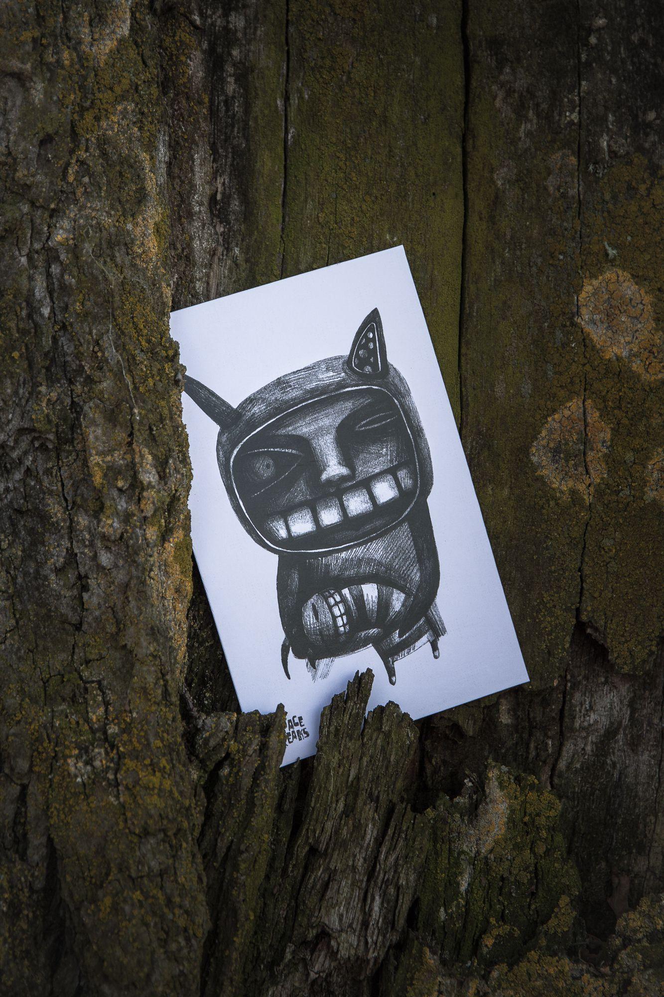 handmade gift cat postcard kraft teeth