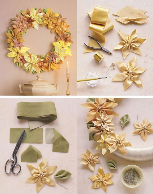 bow ribbon wreath make satin