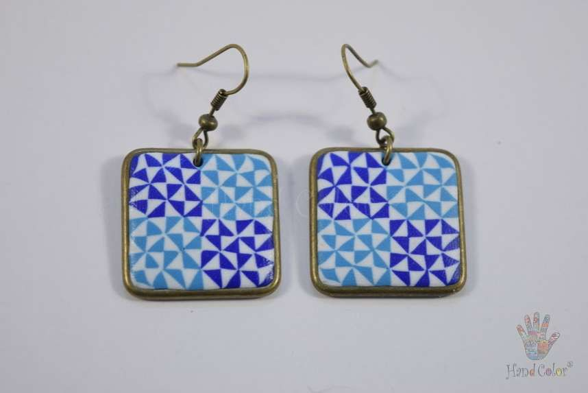 tradition accessories fashion portuguese ceramic original tiles handcraft jewelry jewellery beauty handmade polymer clay bijouterie square