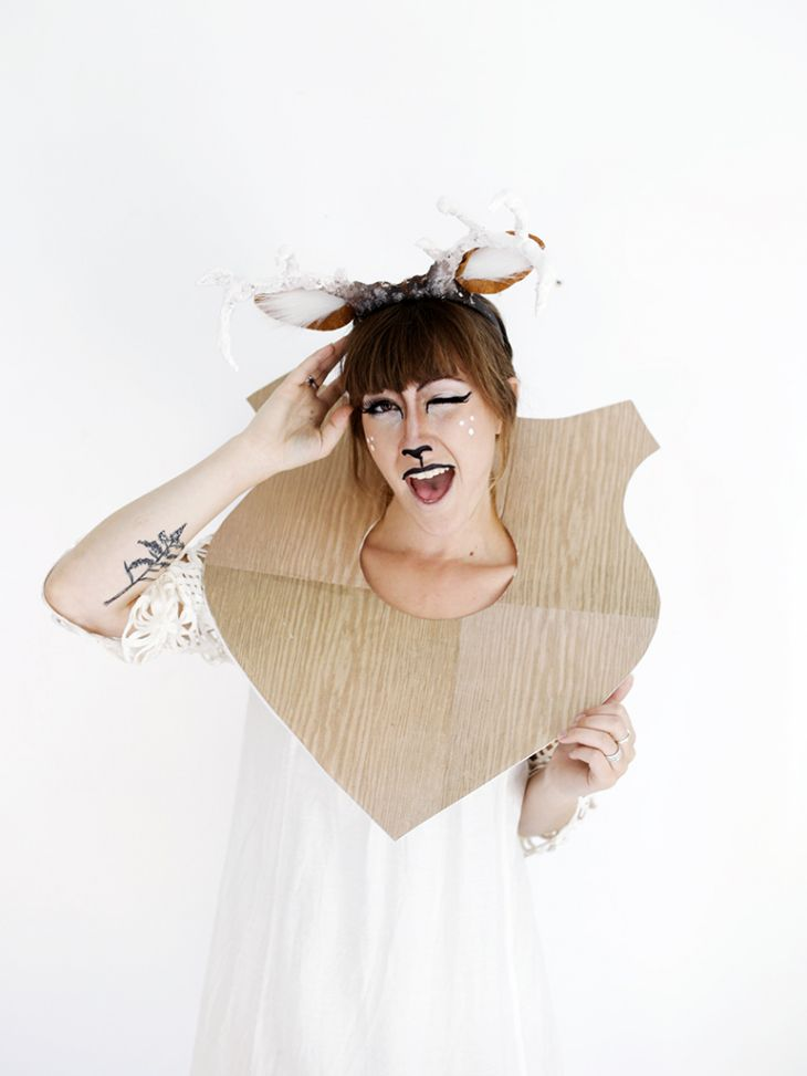 taxidermy funny crazy fun deer halloween costume idea makeup