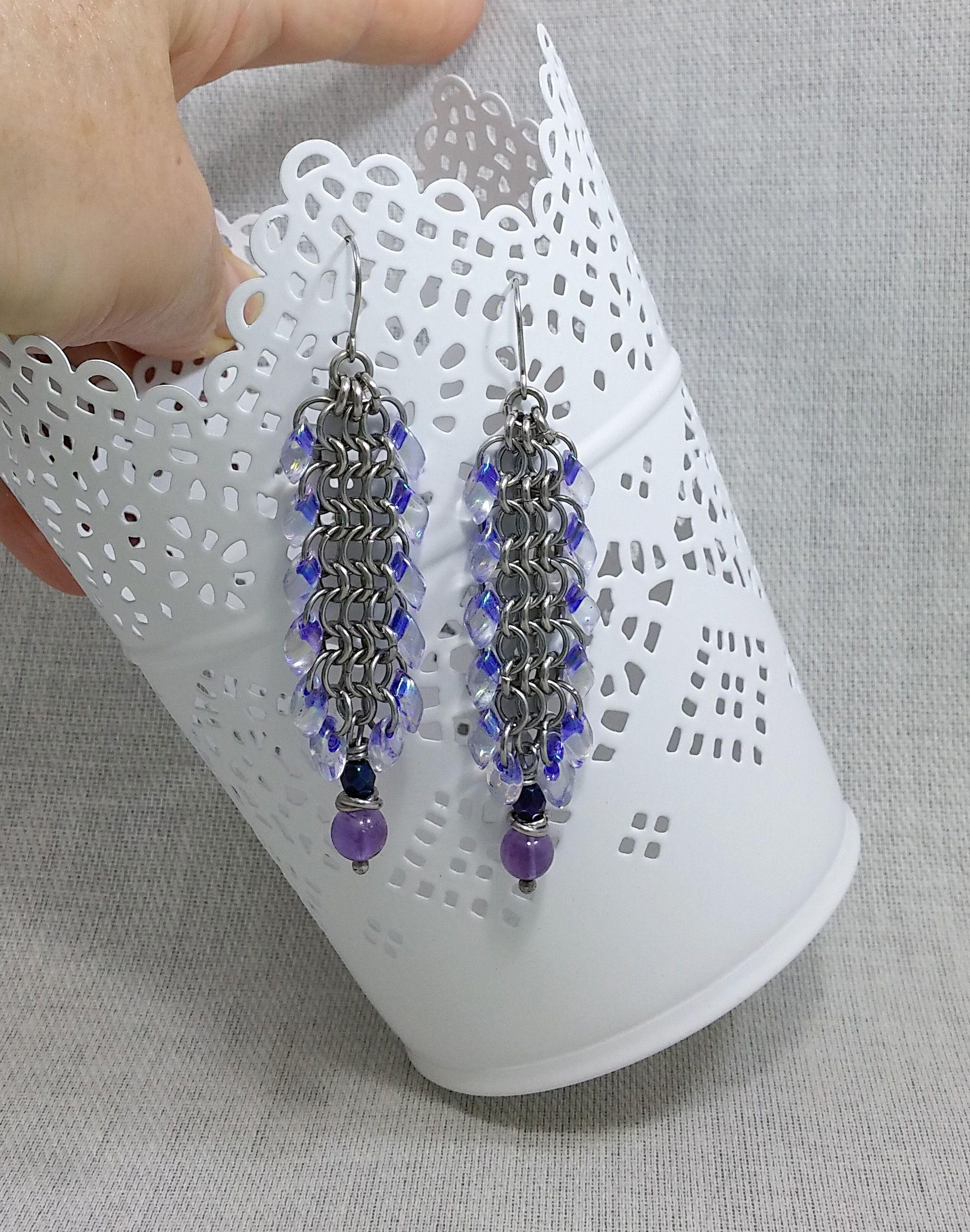 steel earrings amethyst jewelry purple