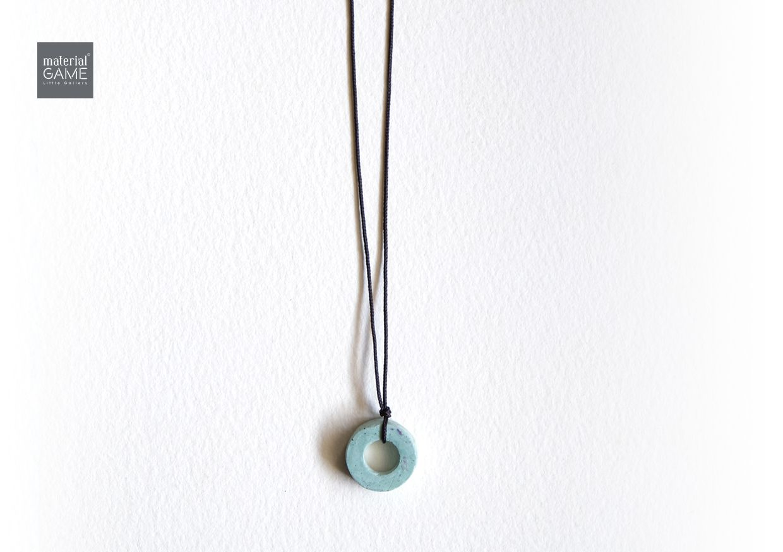 mint green sliding concrete grey jewelry necklace minimal unisex design