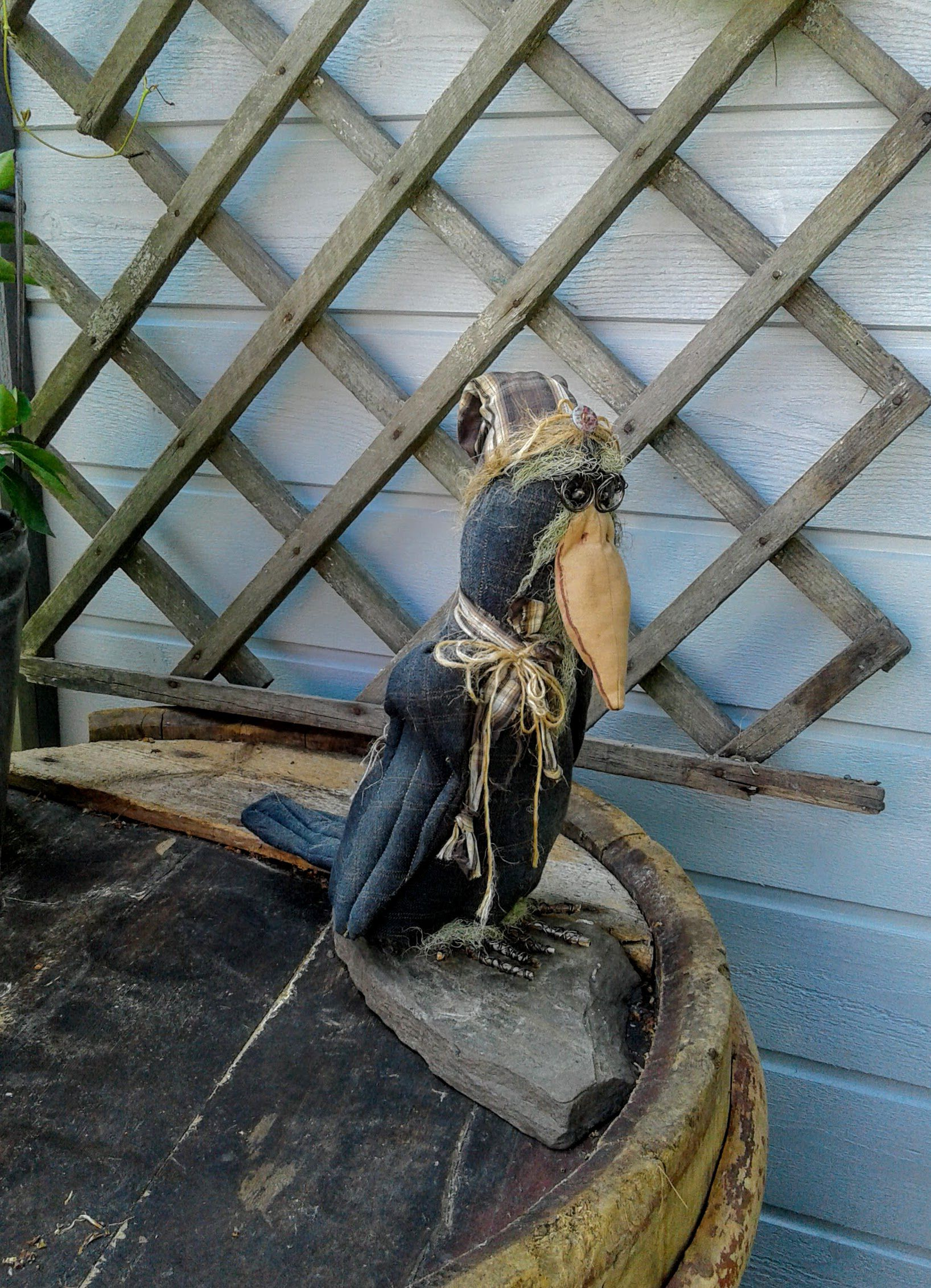 halloween primitive crow handmade_dolls old_crow
