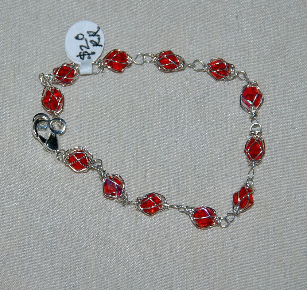silver crystal wire jewelry red wrapped