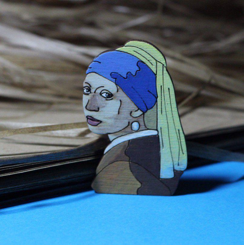 wooden pearlearring gitl pin fashionwood