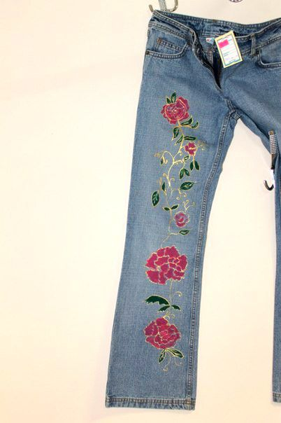 roses hand handmade painting jeans