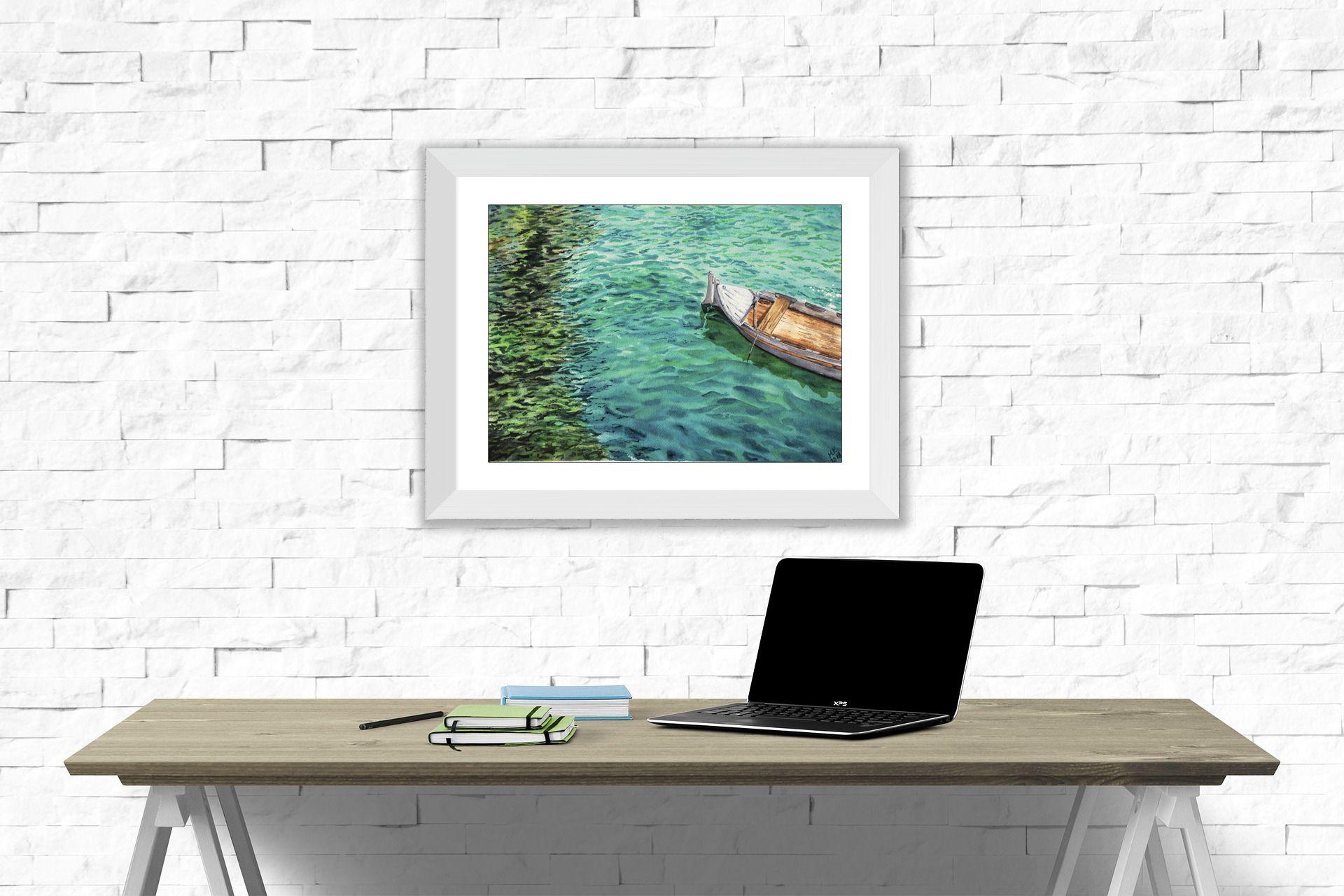 watercolorart seapainting interiorart boatonwater summerscene naturepainting livingroomart