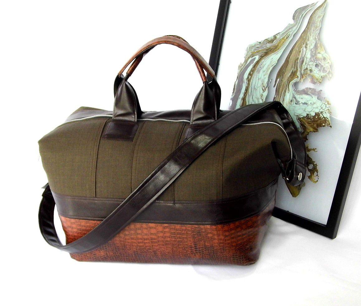 unique brown one kind gennhaio handmade fauxleather large giftideas overnightbag weekenderbag cotton travelbag