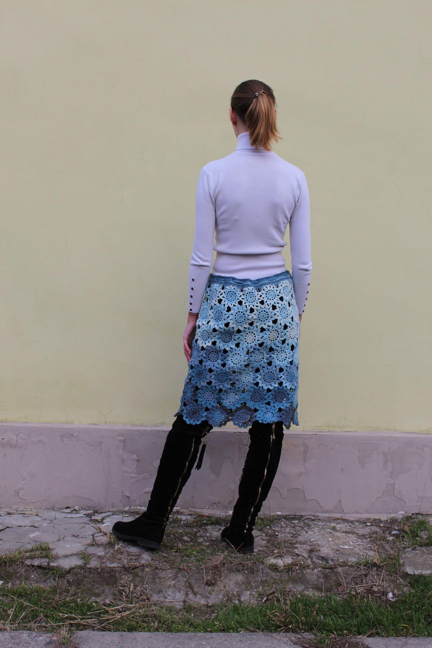 skirt clothes knitting women blue