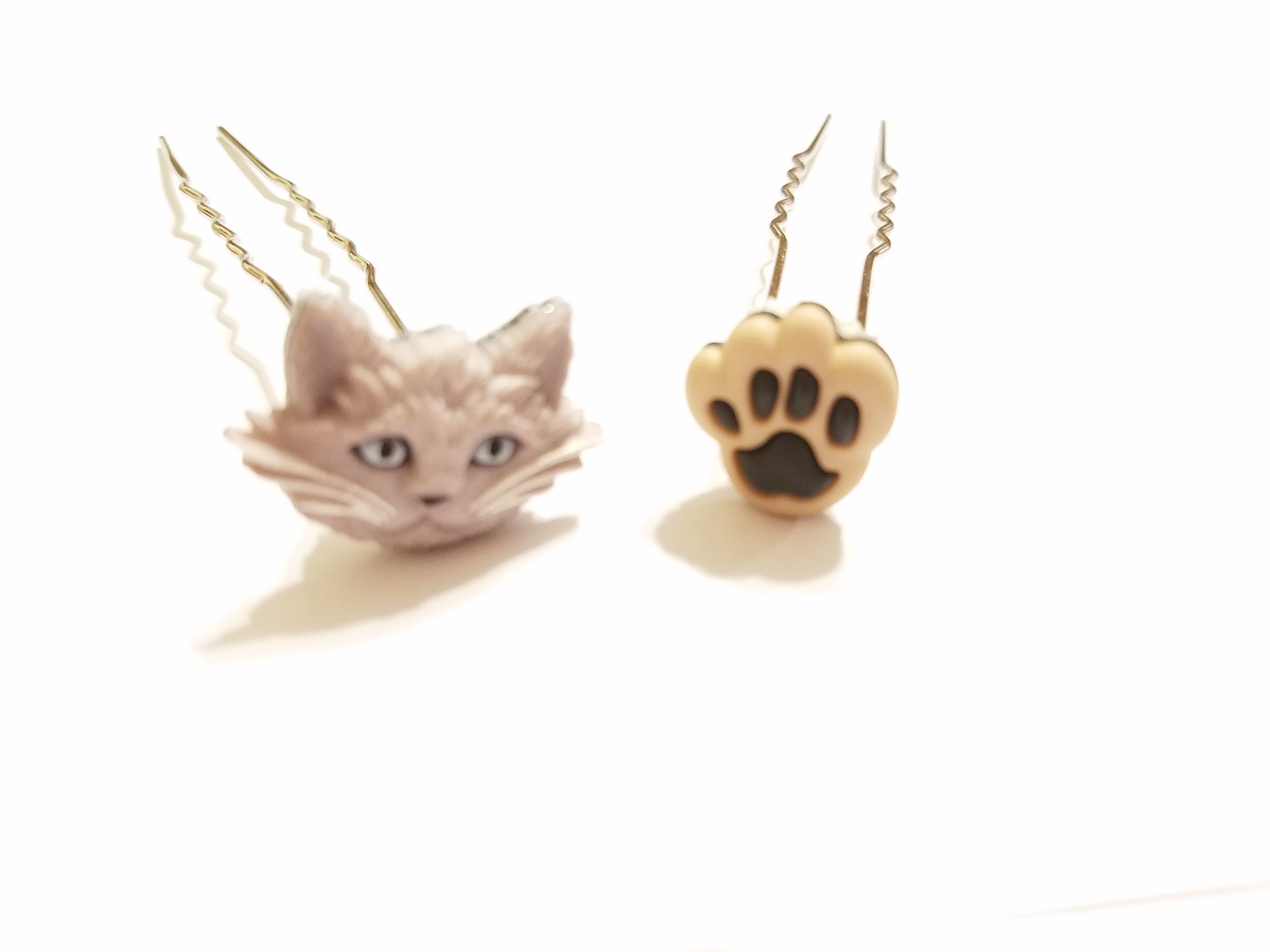 kriszcreations graycats gifts hairjewelry hairpins cats