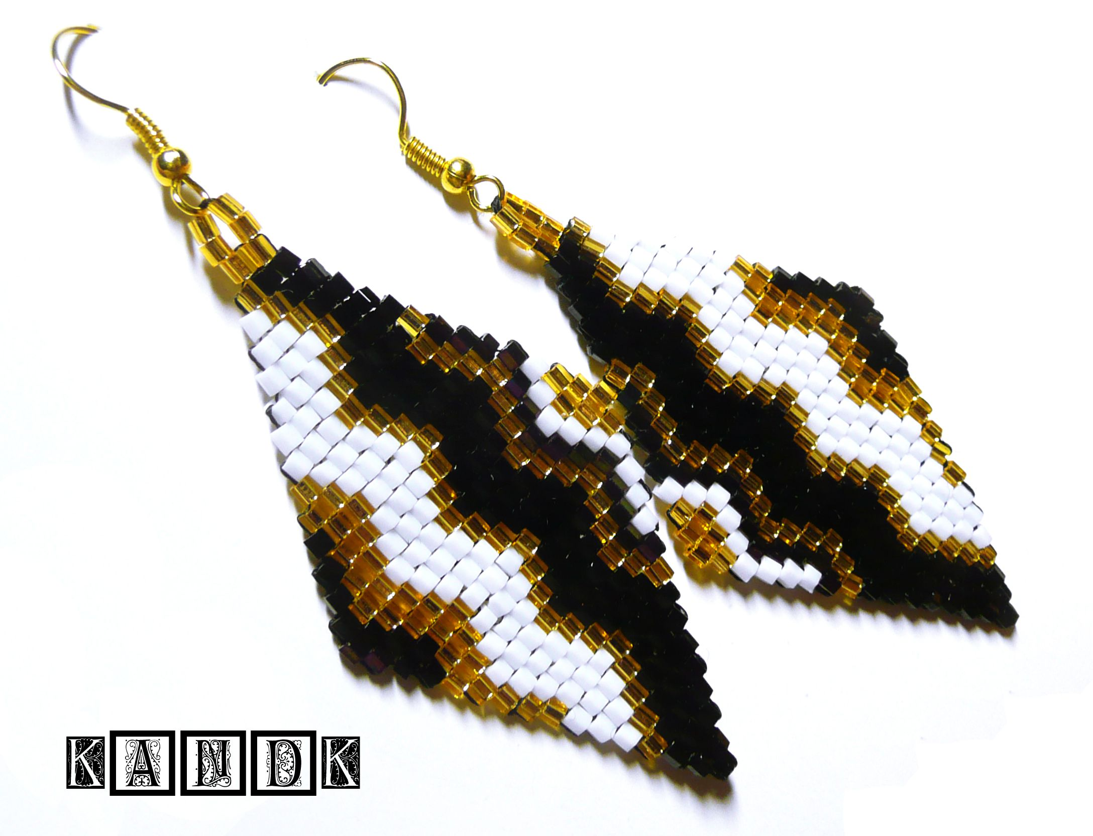 black earrings handmade beads classy
