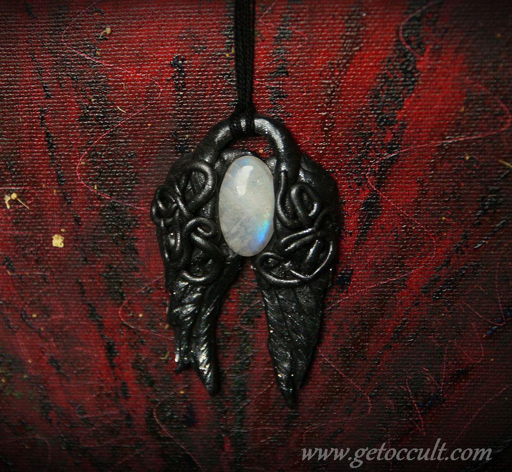 witch wicca pendant gemstones moonstone magic pagan amulet gothic