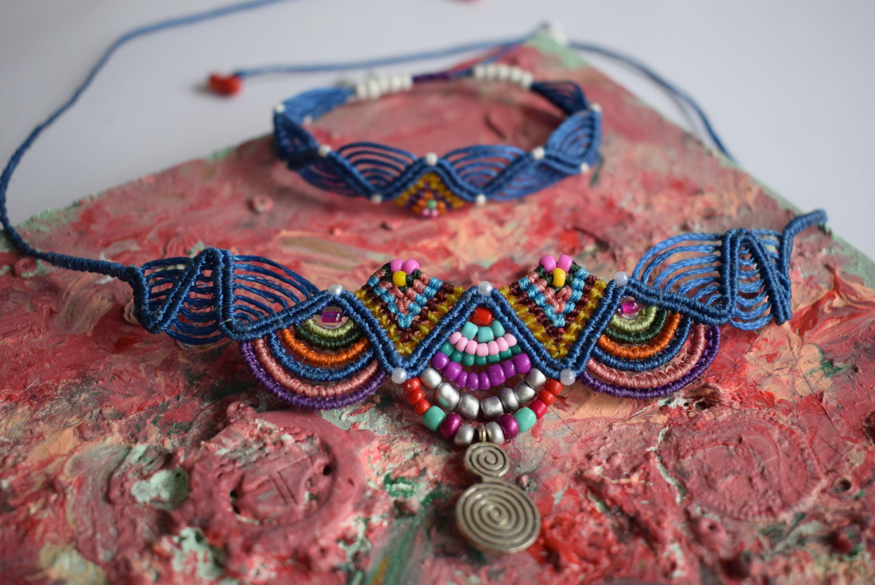 sets hippie unique hand gift set macrame friendship blue jewelry handmade necklace bracelet woven work braided bracelets anklet bohochic