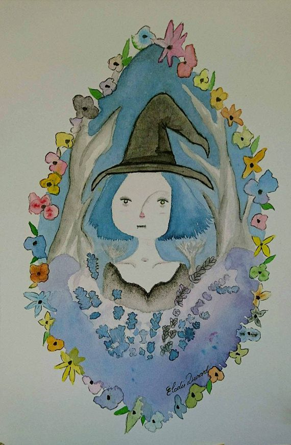 nature etsy witch illustration wicca gift halloween christmas watercolor pagan witchy gothic artwork art