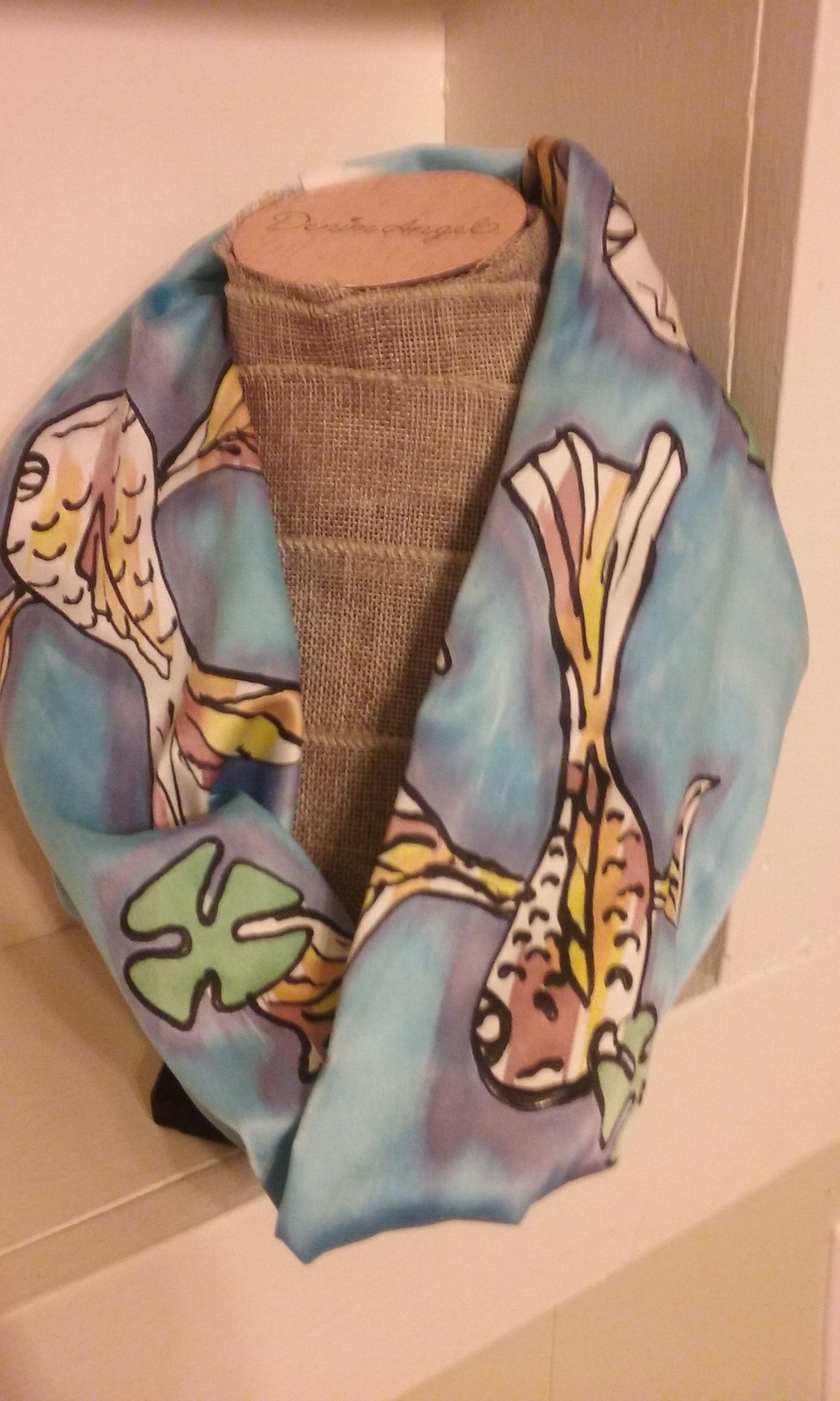 scarves scarf silk handmade fish koi painting