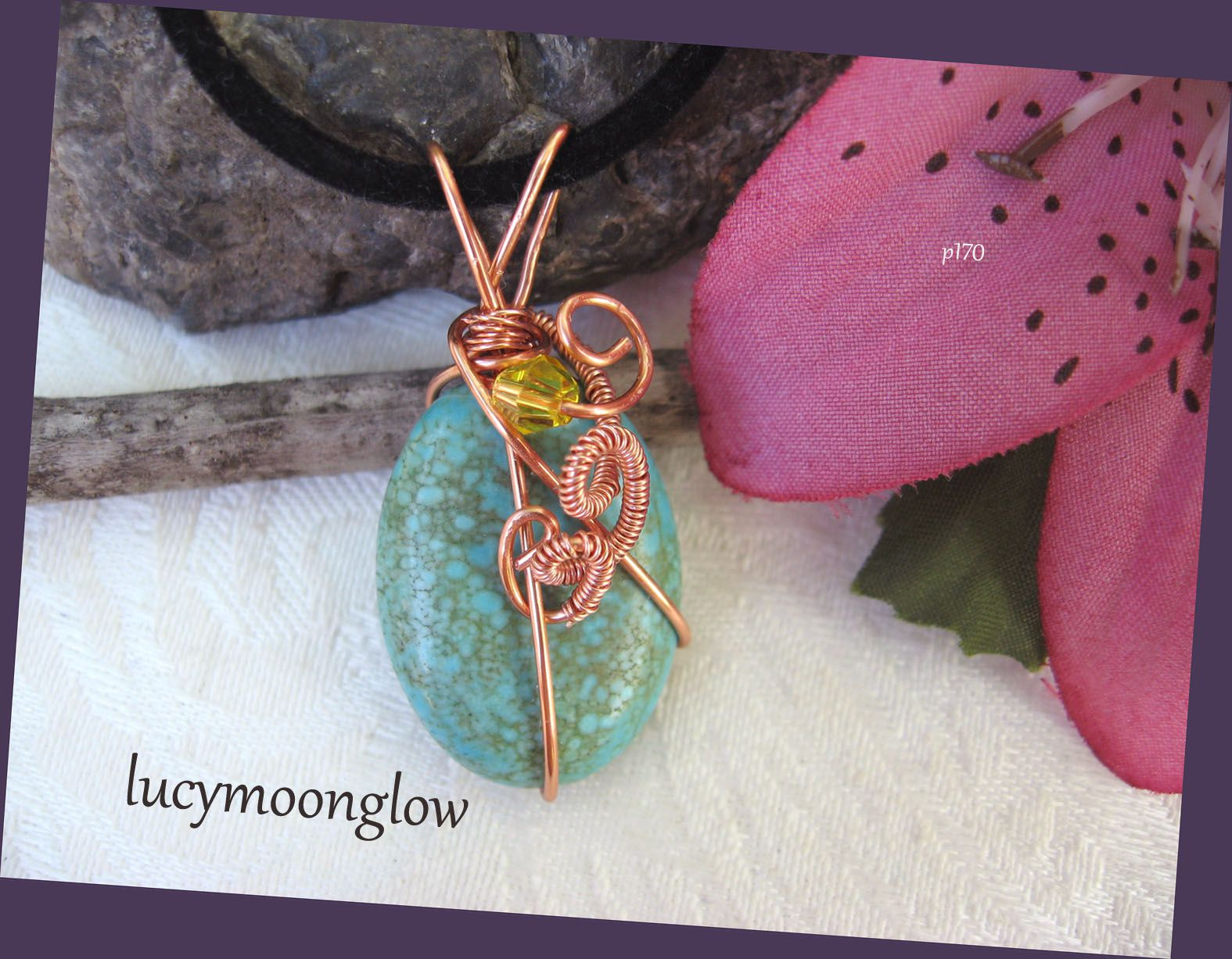 copper wire green pendant gift wrapped wirewrap blue jewelry turquoise handmade necklace gemstone woven wirewoven wireweave lucymoonglow handcrafted
