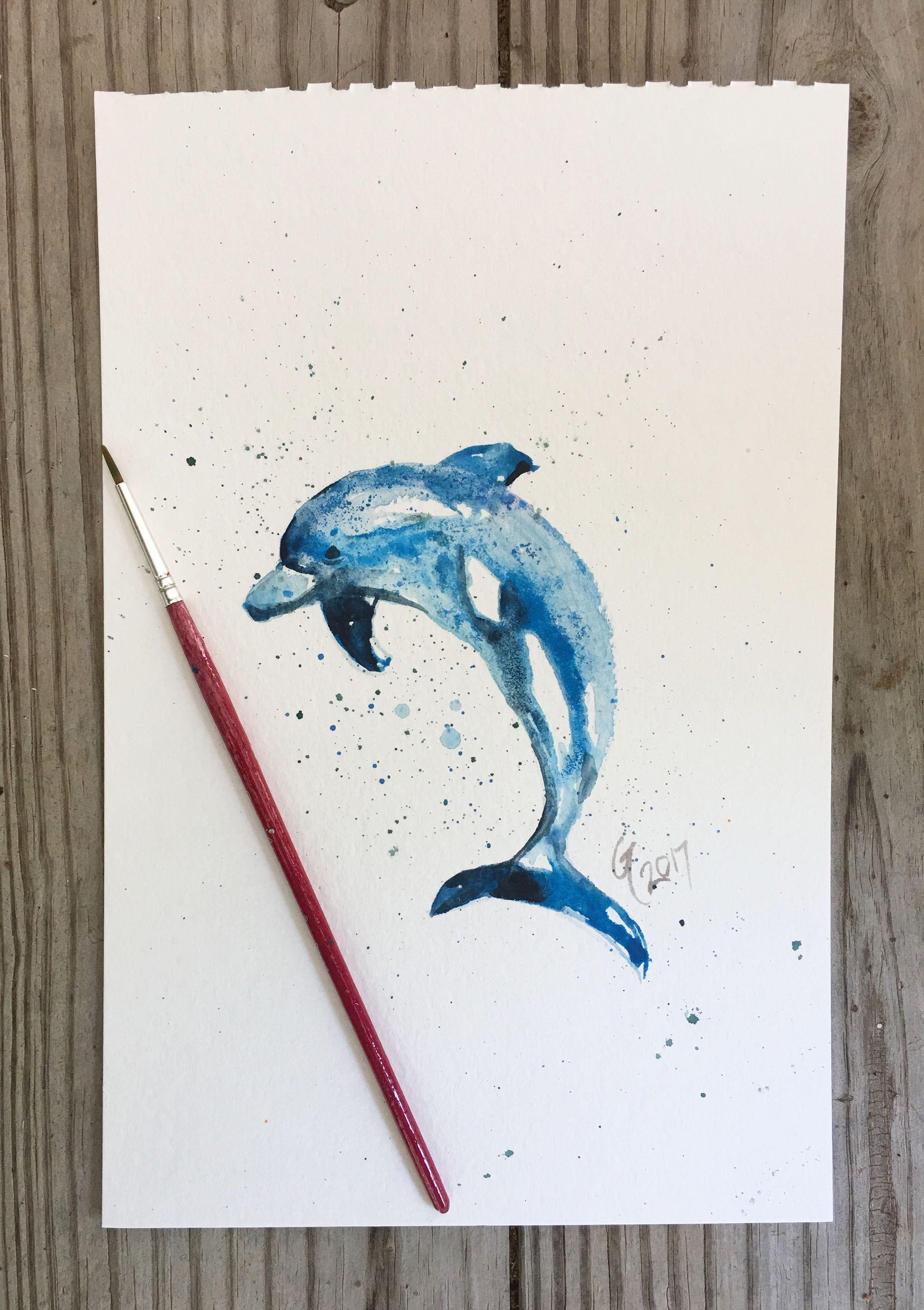 fish painting watercolor original home art decor dolphin beach