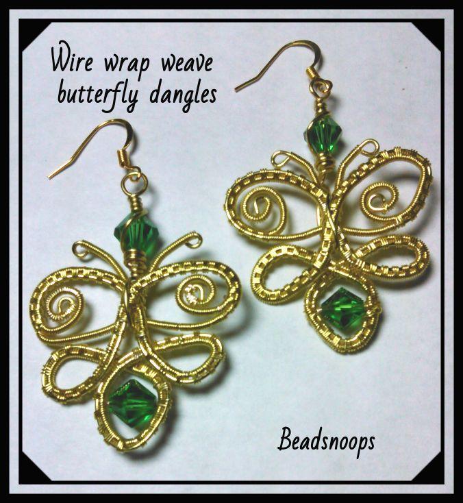 wirewrapweave beadsnoops earrings greencrystals jewelry handmade