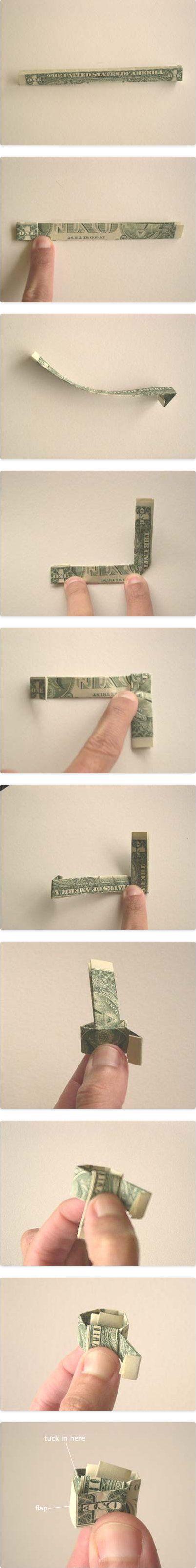 origami ring money make dollar