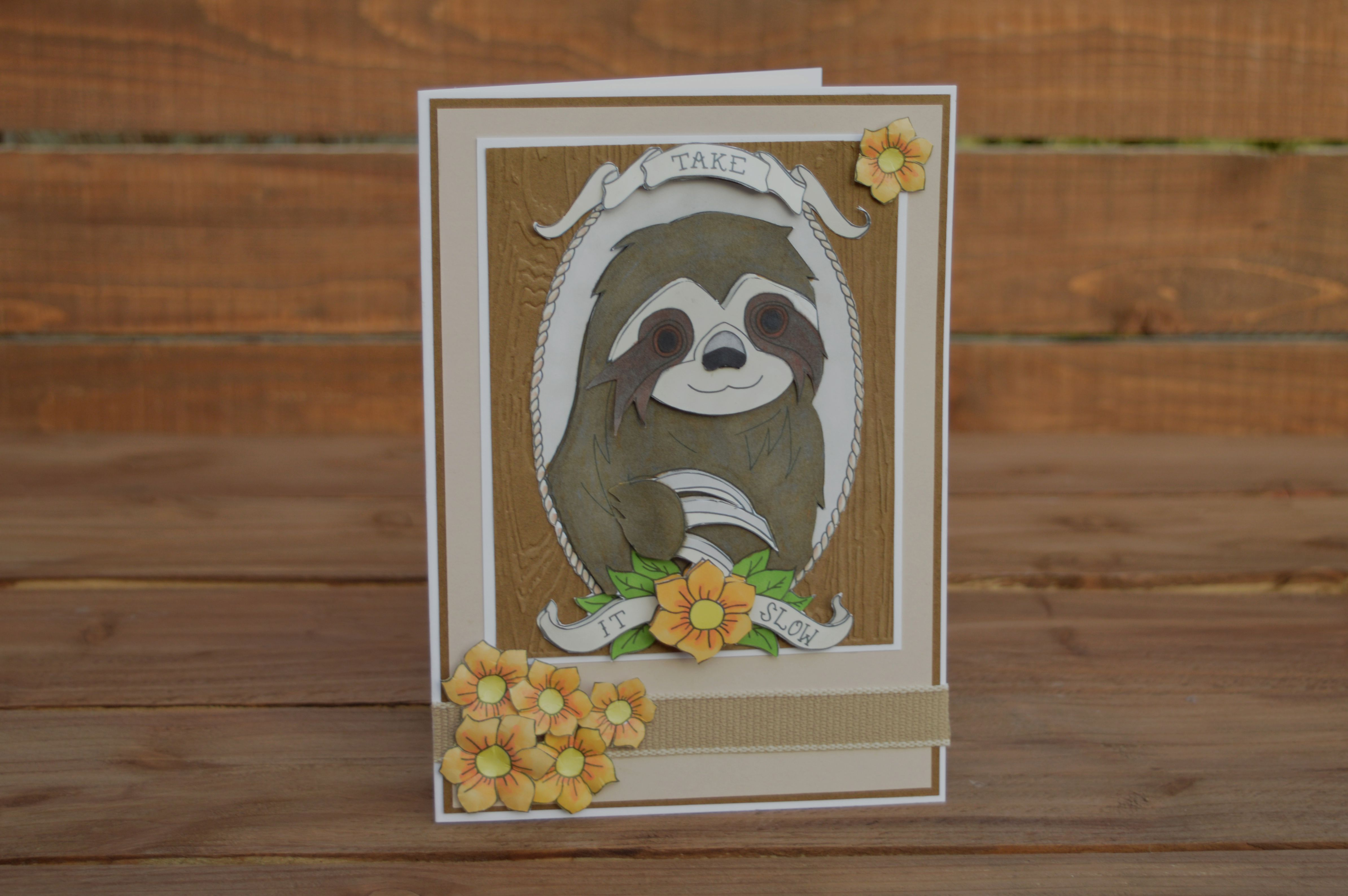 birthday papercraft illustration unique slow sloth card gift handmade tattoo retirement art