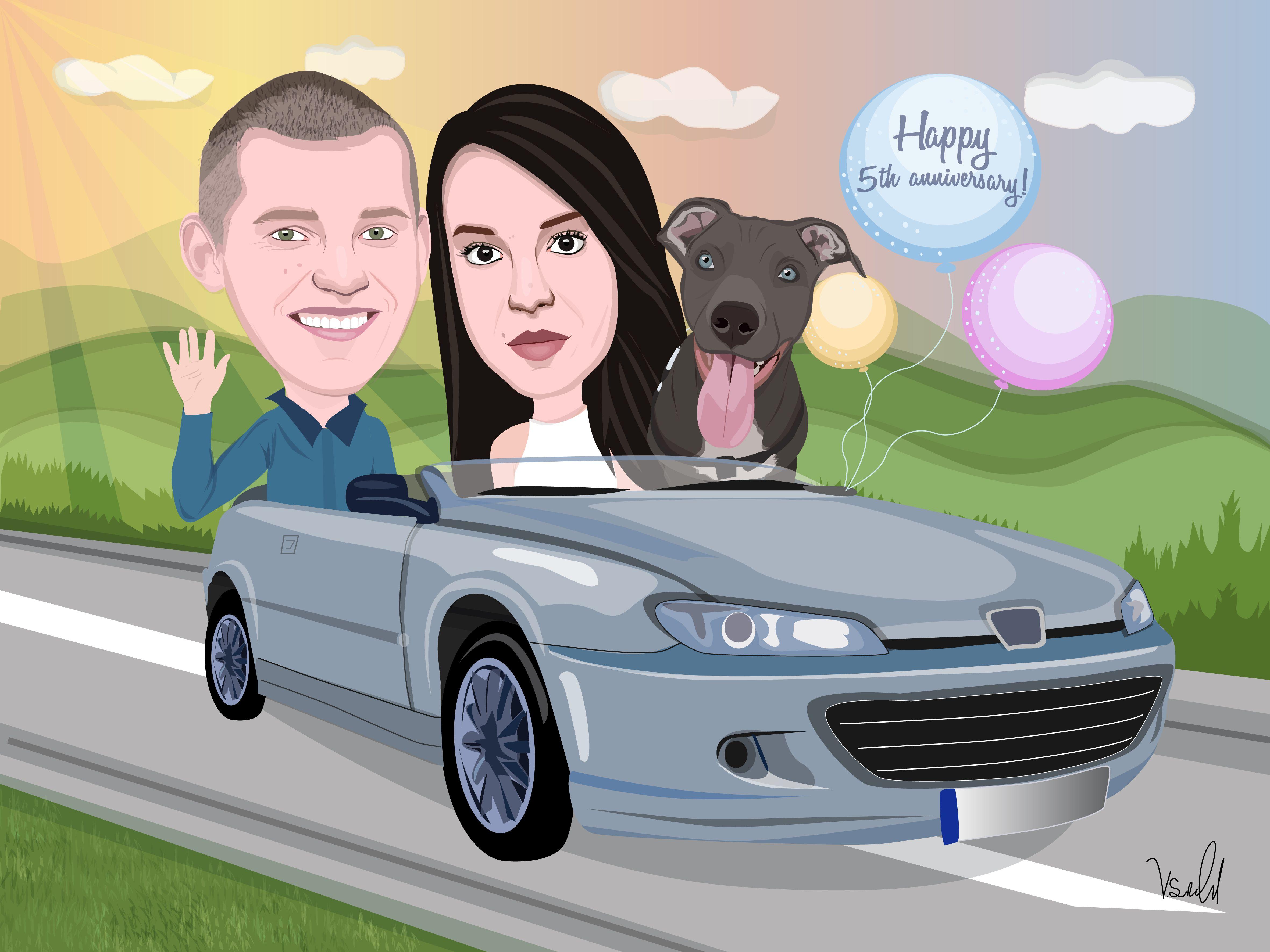 portrait illustration digital custom drawing caricature cartoon