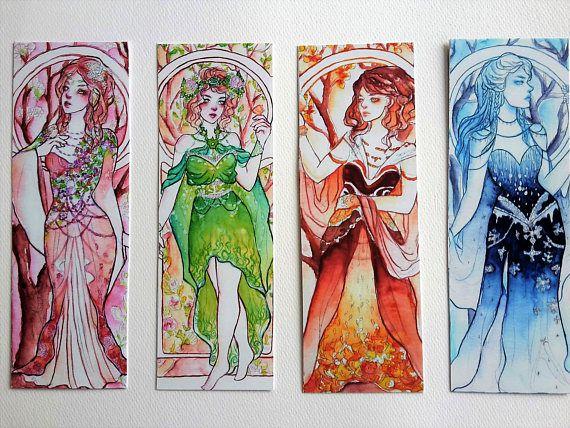 nature dresses handmade pretty painting art girl flowers watercolor book drawing color bookmark reading mucha alphonse noveau beautiful seasons diy design