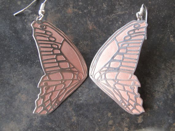 gift earrings butterfly copper silverplated