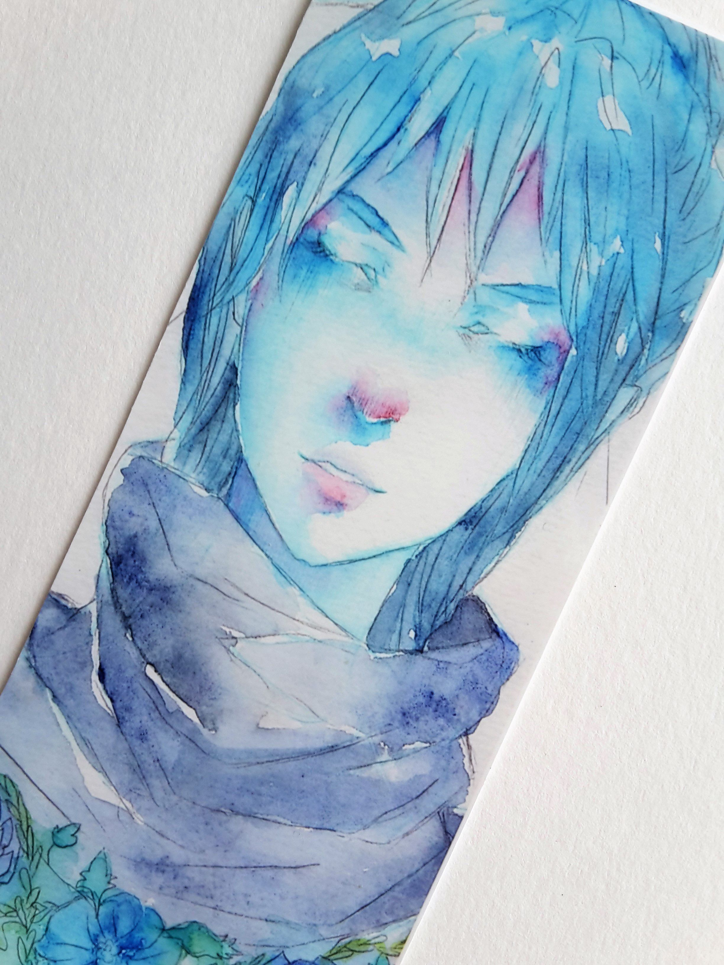 anime manga flowers bookmark artist cute reading watercolor drawing painting art