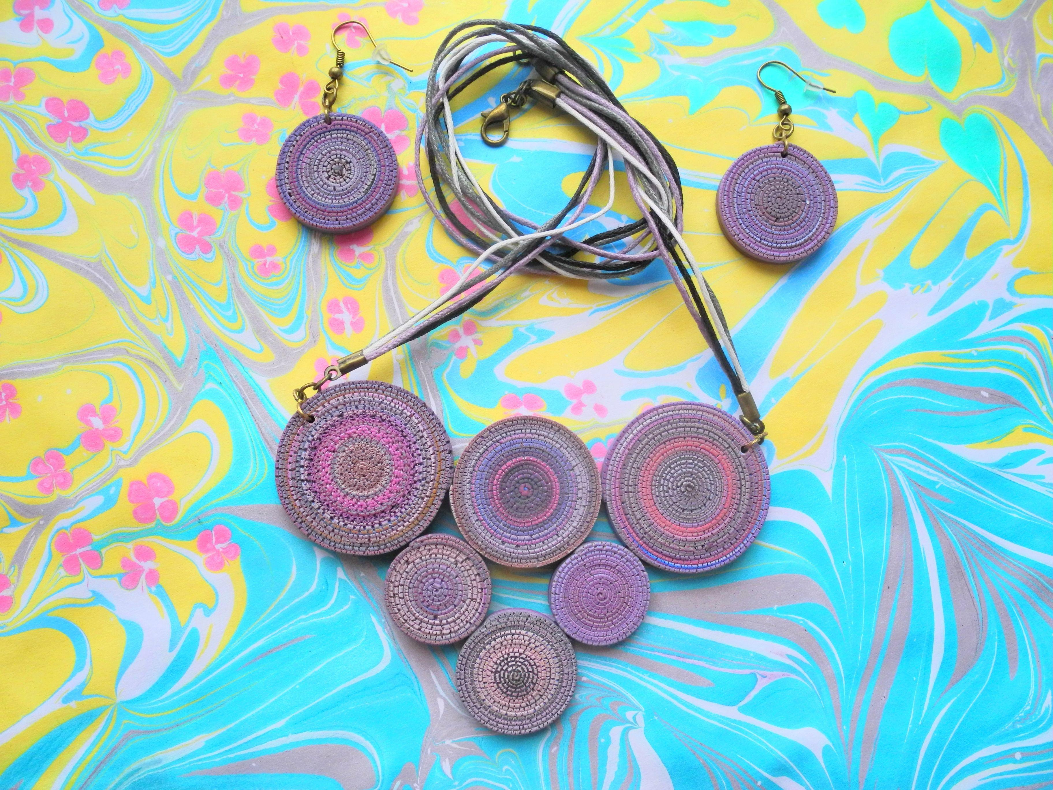 handmade handmadegift set pendant earrings polymerclay bijouterie bijou