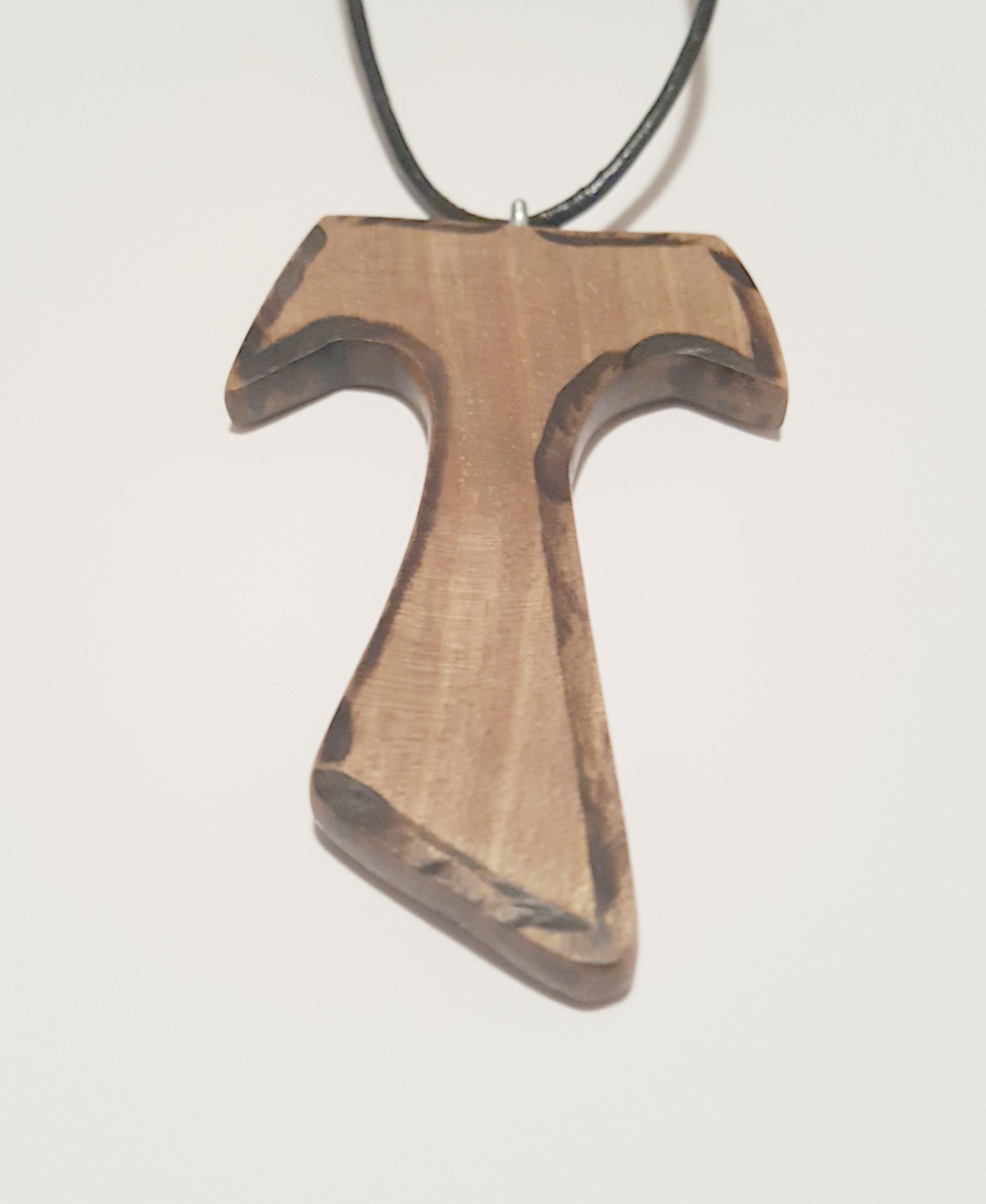 pendant wood necklace cross tau walnut