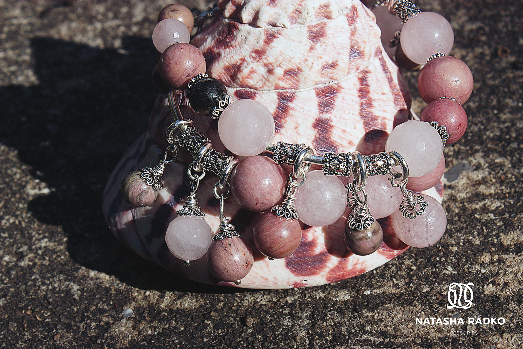 quartz wristlet jewelry rhodonite rose