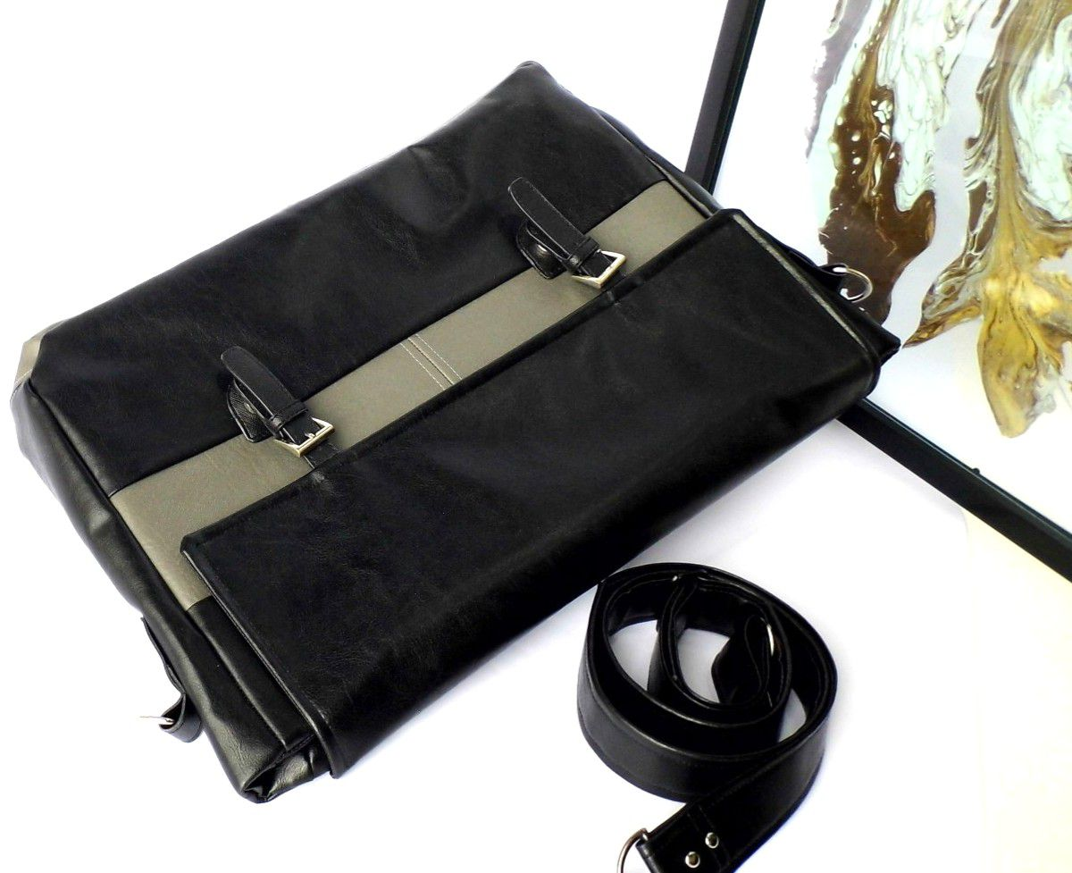 bag leather vegan and gift laptop black idea faux grey men women everyday unisex work