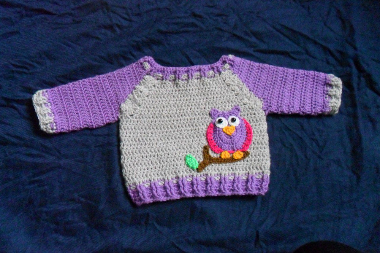 knitted pullover owl choldren