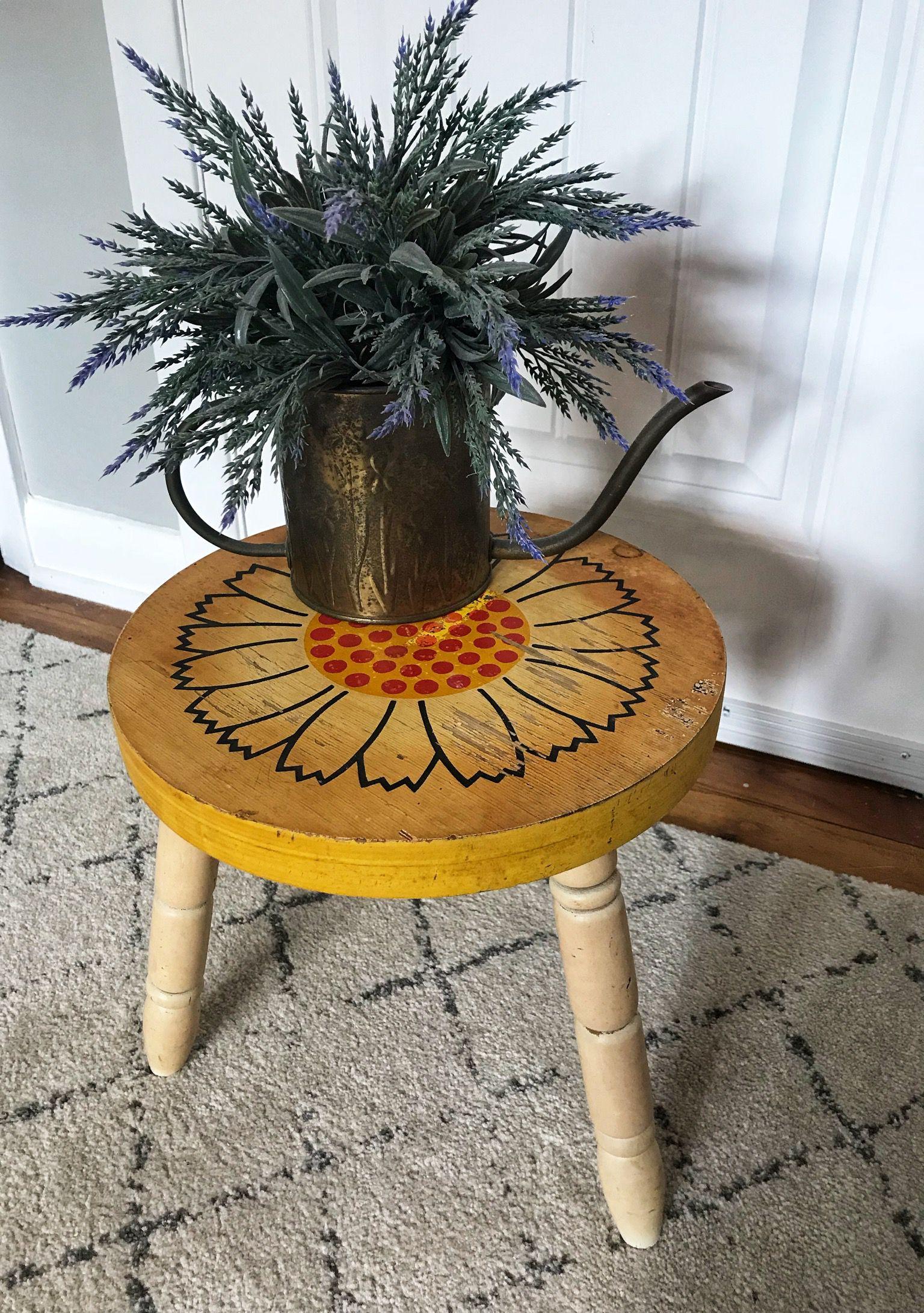 Miraculous Vintage Round Stool Wood Stool Vintage Flower Stool Primitive Stool Flower Ottoman Sunflower Bench Vintage Yellow Stool Cjindustries Chair Design For Home Cjindustriesco