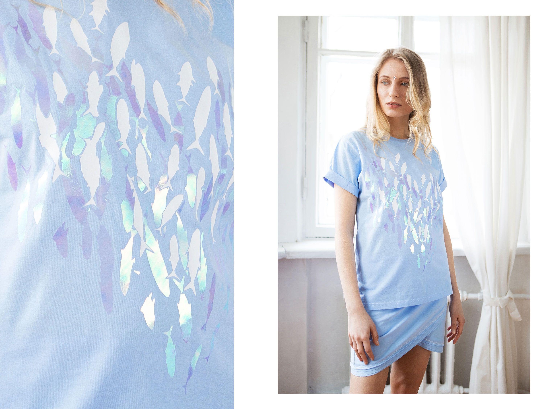 fashion cotton clothes shirt blue fish