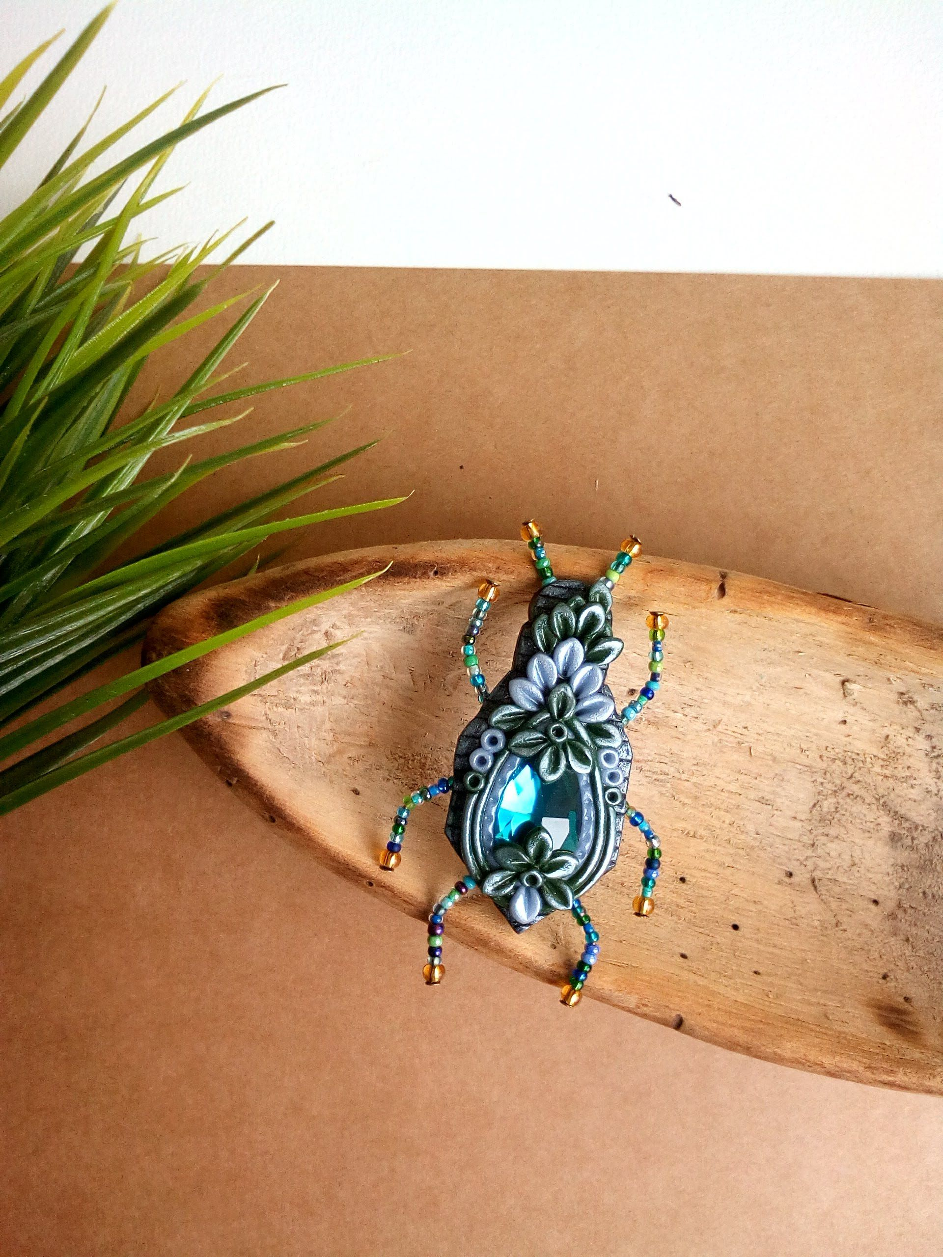 insect bugpin beetlebrooch insectbrooch black glasscrystal polymerclay beetle bug blue olivegreen blackbrooch insectjevelry