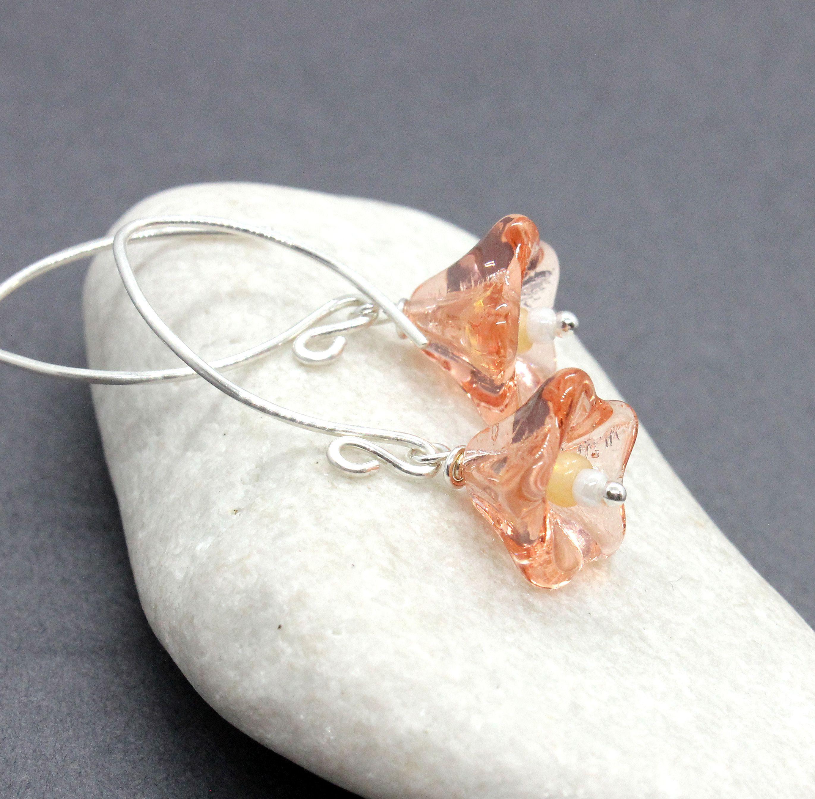 silverearrings womenjewelry glassearrings peachearrings flowerearrings